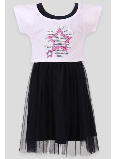 Breeze Kız Çocuk Elbise Yıldız Baskı Bolerolu Beyaz (6-10 Yaş) Beyaz